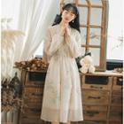 Ruffle Trim Long-sleeve Chiffon Midi Dress