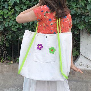 Flower Appliqued Canvas Shopper Bag