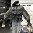 Set: Embellished Sheer Blouse + Camisole