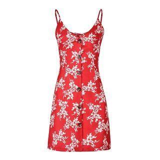 Spaghetti Strap Floral Button Mini A-line Dress