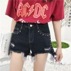 Studded Frayed Denim Shorts