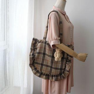 Plaid Scallop Trim Tote Bag