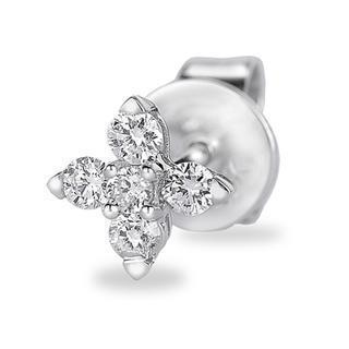 18k Gold Five Stones Cross Shaped Round Diamond Single Stud Earring (0.11cttw)