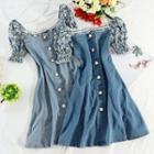 Short-sleeve Floral Print Panel A-line Denim Dress