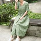Elbow-sleeve Plaid Buttoned A-line Midi Dress