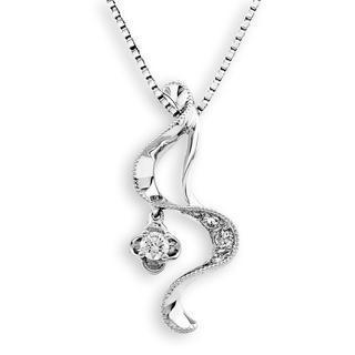 18k White Gold Swirl Ribbon Diamond Milgrain Dangle Clover Pendant Necklace (0.14cttw) (free 925 Silver Box Chain, 16)