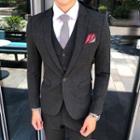 Suit Set: Print Blazer + Vest + Dress Pants