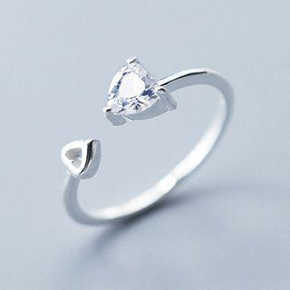 925 Sterling Silver Rhinestone Heart Open Ring S925 Sterling Silver - As Shown In Figure - One Size
