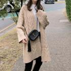 Open Front Cable-knit Cardigan Almond - One Size