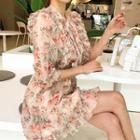 Frilled Floral Chiffon Shirtwaist Dress With Sash