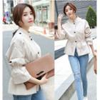 Stand-collar Tie-waist Jacket