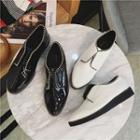 Faux-leather Zip-accent Oxford Shoes