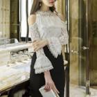 Long-sleeve Lace Cutout Top