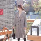 Double-breasted Houndstooth Long Coat