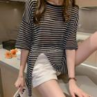 Pinstriped Elbow-sleeve Knit T-shirt