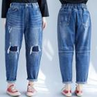 Distressed Cropped Harem Jeans Dark Blue - One Size