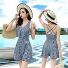Gingham Strappy Back Swimdress