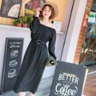 Off-shoulder Plain Midi Dress