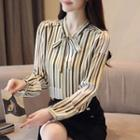 Striped Tie Neck Chiffon Blouse