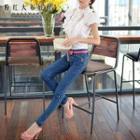 Rhinestone Slim-fit Jeans