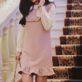 Sleeveless Buttoned Ruffled Dress