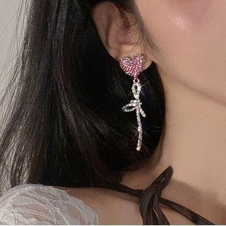Heart Knot Rhinestone Dangle Earring 1 Pair - A3083 - Pink - One Size