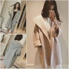 Hooded Open-front Knit Jacket