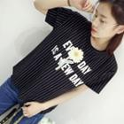 Lettering Flower Embroidered Striped Short Sleeve T-shirt