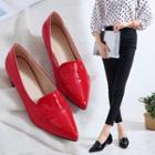 Faux Leather Pointed Low Heel Pumps