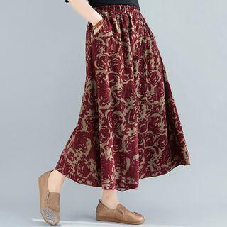 Linen Midi Skirt Red - One Size