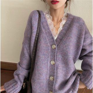 Long-sleeve Melange Knit Cardigan / Bell-sleeve Lace Blouse
