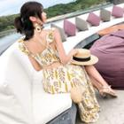 Sleeveless Ruffled Patterned Chiffon A-line Maxi Dress