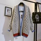 Cable Knit Striped Cardigan