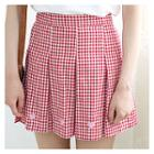 Heart Embroidered Pleated Gingham Mini Skirt