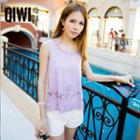 Sleeveless Cutout Chiffon Top