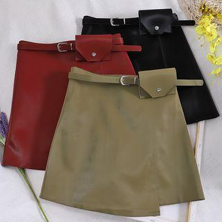 Faux Leather A-line Skirt + Belt