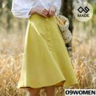 Plus Size Buttoned Midi Flare Skirt