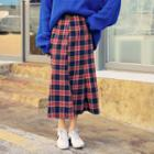 Flare Checked Midi Skirt