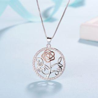 925 Sterling Silver Rose Pendant Necklace Without Necklace - Pendant - One Size