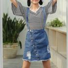 Distressed Suspender Denim Mini Skirt