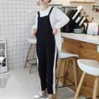 Striped Pinafore Jumpsuit As Shown In Figure - One Size