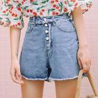 Fringed Denim Wide-leg Shorts