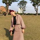Plaid Cropped Jacket / Plaid Slim-fit Skirt