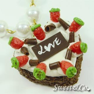 Chocolate Strawberry Love Heart Cake Pearl Necklace