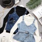 Set: T-shirt + Sleeveless Denim Top