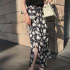 Flower Print Midi Wrap Skirt