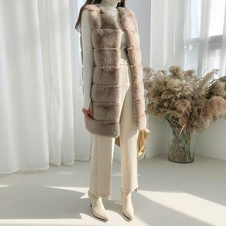 Tiered Long Faux-fur Vest