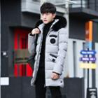 Hooded Applique Padded Long Jacket