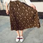 Floral Print Chiffon Pleated Midi Skirt