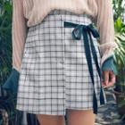 Check Tie-waist A-line Skirt